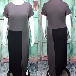 J. Jill Dress L Maxi Long Color Block Stretch Slit